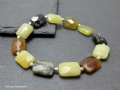 Black Yellow & Tan Flake Jade Oblong Beads & Sterling Silver Designer Bracelet | Silver Sensations
